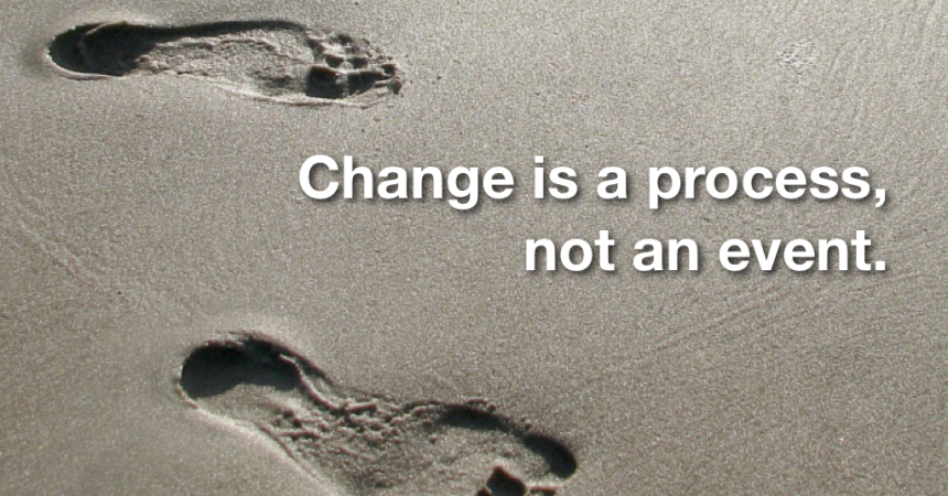Photo foots mark in the sand with qoute change is a process not an event